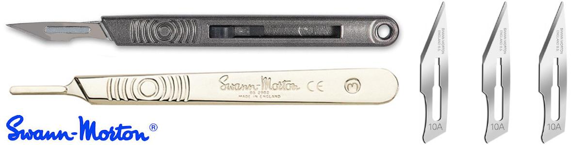Swann Morton Retractaway Safety Handles, Swann Morton No3 Scalpel Handles, Swann Morton No10 Scalpel Blades